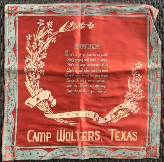 Vintage Military Pillow Sham Cover U.  S.  Army Camp Wolters Texas Poem To Mother
