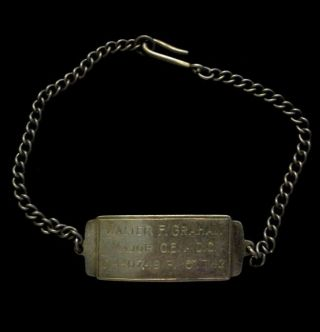 Wwii Us Army Officer Identification Id Bracelet Named – British Made.  925 Silver