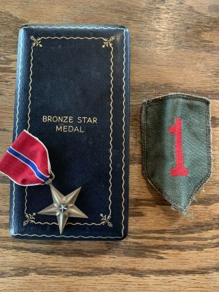 Wwii Bronze Star Medal 1st Infantry Division Big Red One Patch Ww2