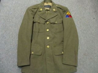 U.  S.  Army Wwii Od Wool Jacket With 2nd Armored Div Patch & Officer Quality Mp