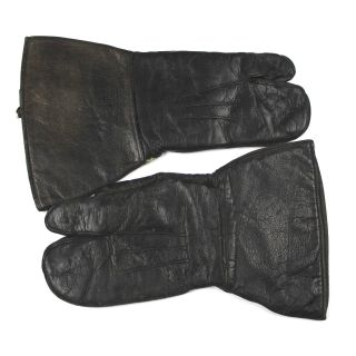Wwii Us Army Leather Trigger Finger Mittens Gloves Motorcyclist Mountain Troops