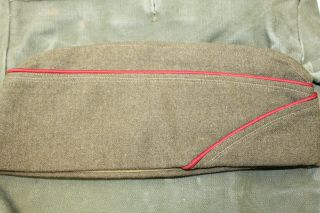Ww2 U.  S.  Army Artillery (red) Piped Od Wool Overseas Hat,  1942 Dated