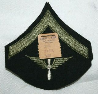 Pair Early Ww2 Wwii U.  S.  Army Air Force Private Rank On Dk Blue Wool Felt