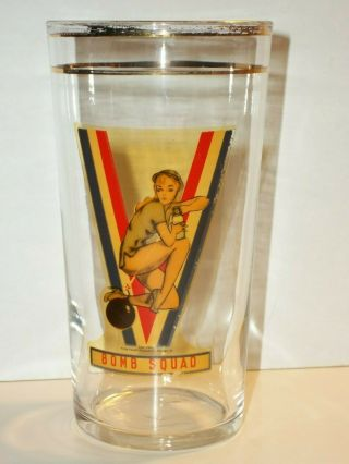 1942 Wwii Bomb Squad Pinup Glass Tumbler V - Victory Civil Defense Corps Lady Legs