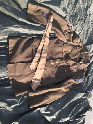Ww2 Us Dress Jacket Class A Shirt W/ Ribbons Second Air Force Army Air Corps 2nd