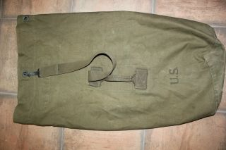 Vintage Us Military Issue Ww2 Dated 1944 Canvas Duffle Bag Dg15