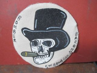 Wwii Usaaf Skull With Hat 5 Th Bomb Group 5 Th Aaf Flight Jacket Patch