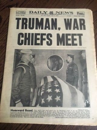 Fdr Roosevelt Funeral Wwii 1945 Daily News York Newspaper