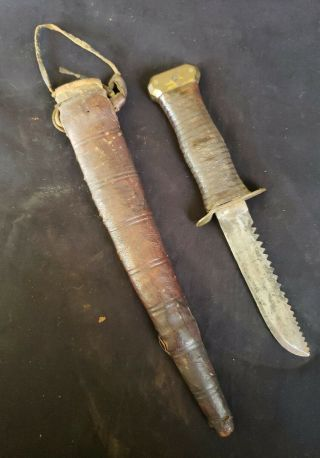 Wwii Knife Custom Made African Theater Leather Scabbard Saw Back Blade
