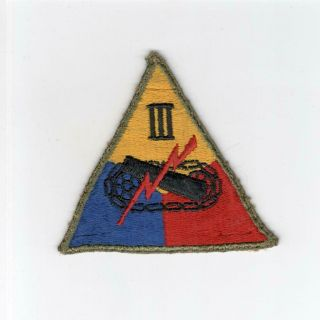 Yellow Apex Ww 2 Us Army 3rd Armored Corps Patch Inv E074
