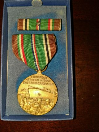 Vintage Wwii Ww2 Eame Campaign & Service Medal With Ribbon & 1 Battle Star Boxed
