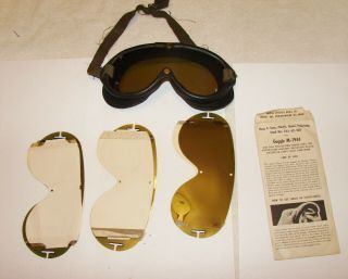 Wwii Us Navy M1944 Pilot Goggles By Polaroid W/ Extra Lenses Envelope