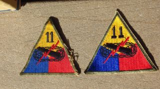 2 Different Ww2 Us Army Military 11th Armored Division Forces Patch Ssi Insignia
