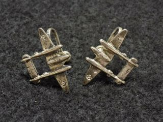 Wwii Us Army Air Corps P - 38 Lightning Sterling Silver Earrings Set
