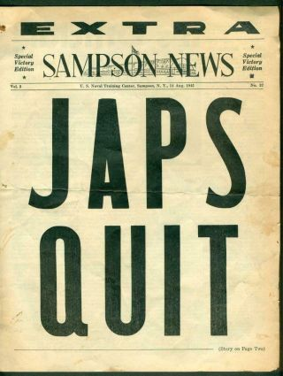 Wwii 1945 Navy Sampson News Extra Special Victory Over Japan Edition Japs Quit