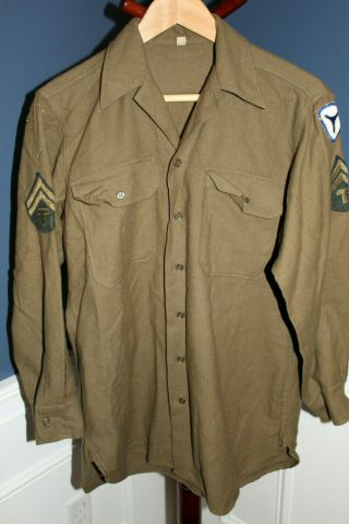 Ww2 U.  S.  Army Soldiers Od Wool 3rd Army Patched Field Combat Shirt
