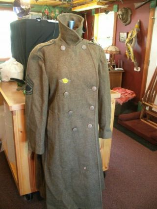 Wwii Aaf Wool Olive Drab Heavy Wool Coat 40r Sergeant & Sixth Patch Eagle Button