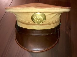 Wwii U.  S.  Army Tan Enlisted Peaked / Visor Service Cap W/ Laundry Number