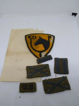 Ww2 Us Army Cavalry Officers Bullion Uniform Insignia & 61st Cavalry Patch Group
