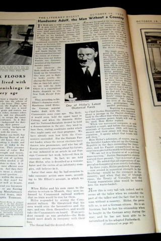 Adolf Hitler 1930 Nazi 2nd Power In Germany Feature Intellectual Shortcomings