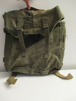 Us Army Wwii Military Canvas Back Pack/ Rucksack Manaffey Tent Co.  1945