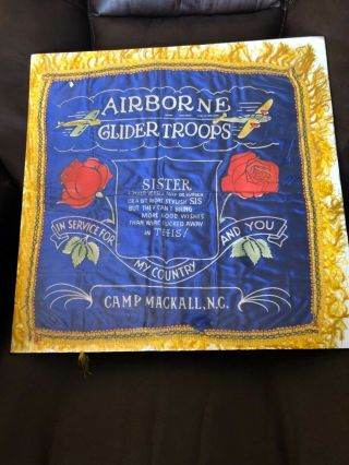 """Wwii Airborne Glider Troops Camp Mackall,  N.  C Pillow Case Slip Cover """"sister"""""""