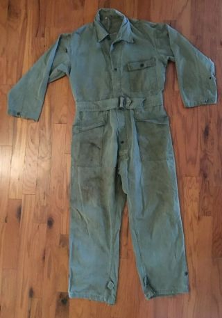 Wwii Us Army Herring Bone Twill Coveralls 13 Stars Buttons Size 42r