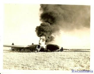 Org.  Photo: Crashed F - 5 Recon Plane (p - 38 Variant) Burning In Field