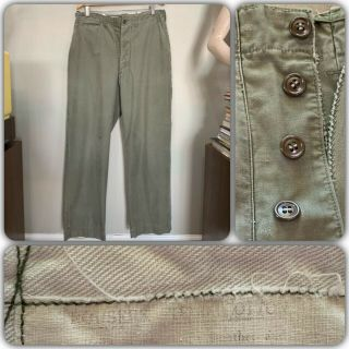 40s Wwii Us Army 33x33 Cotton Field Trousers Pants Chinos Vtg Military Od Faded