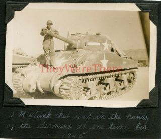 Wwii Photo - 11th Ad - Captured M4 Sherman Tank By Germans - Re - Captured By Us