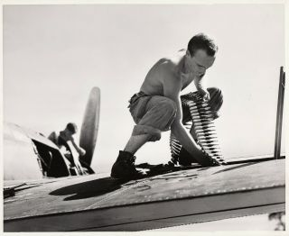 U.  S.  Marine Corp Ground Crew Ready Planes For Combat Missions (2 - Photos) - 1944