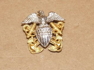 H H Sterling Silver & Gold Filled Us Navy Eagle Shield Anchor Medal Or Lapel Pin