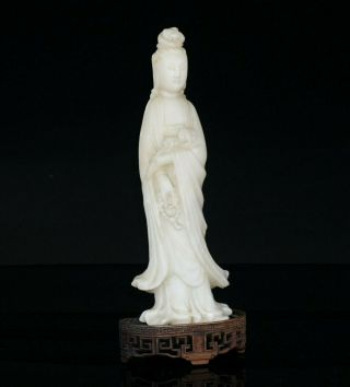 Antique Chinese Soapstone Carving Immortal Kwan - Yin With Wooden Stand 19th C