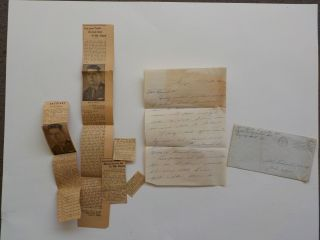 Wwii Letter 1945 Missing In Action Picture Newspaper Clippings Ww Ii Vtg War Ww2