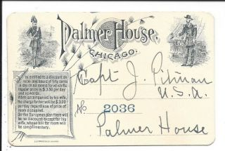 Illust.  Discount Card Issued To Us Military By The Palmer House,  Chicago,  C1900