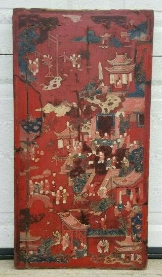 Antique Chinese 18/19th C.  Painted Red Lacquer Wooden Furniture Door Panel 26 ""