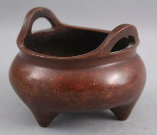 Small Antique Chinese 3 - Foot Bronze Censer Incense Burner,  Red Patina