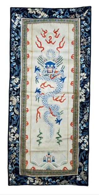 Old,  Antique 18th/19th C.  Chinese Imperial Dragon Silk Embroidery Kesi Panel