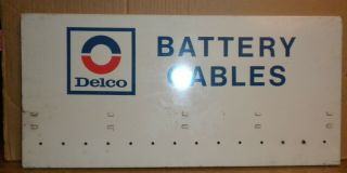 Old Painted Tin Sign Delco Battery Cables