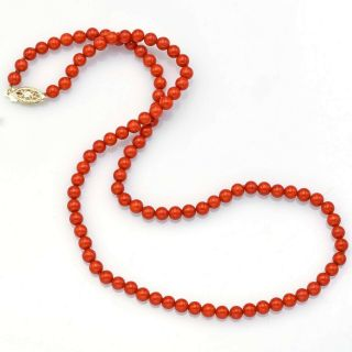Vintage 14k Yellow Gold Red Coral Beaded Strand Necklace 11.  2 Grams 16.  5 Inches