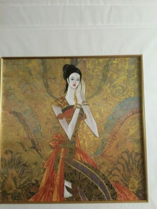 2 Mounted Silk Embroidery Of A Red Earth Painting On Silk With Embroidery