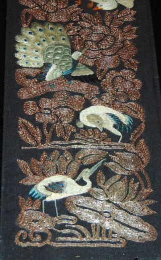 Early Antique Chinese Embroidered Panel Birds Metal Threads Framed