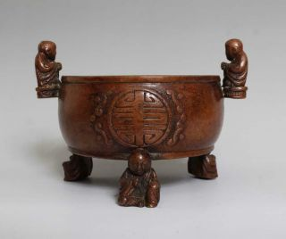 Perfect Antique Chinese Bronze Incense Burner Carved Kids Shi Jiuxi Marked