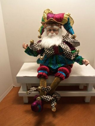 """Mackenzie - Childs """" Have A Seat Santa """".  24 """" Tall Dressed As A Jester Nib"""