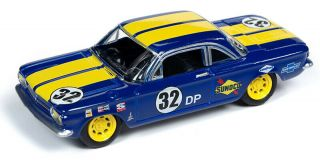 1/64 Johnny Lightning Muscle Cars 1962 Chevrolet Corvair In Blue With Yellow Str