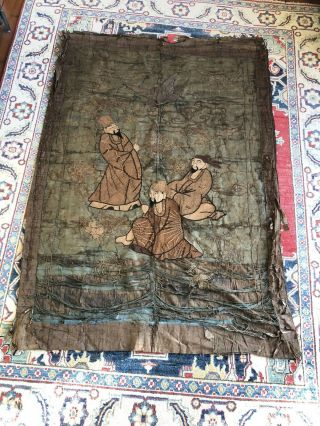 Antique Chinese Embroidered Silk Panel Depicting Three Immortals,  Flyingcrane