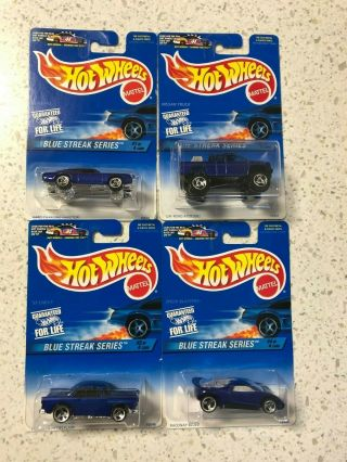 Hot Wheels Blue Streak Series Set Olds 442 Nissan Truck,  55 Chevy,  Speed Blaster