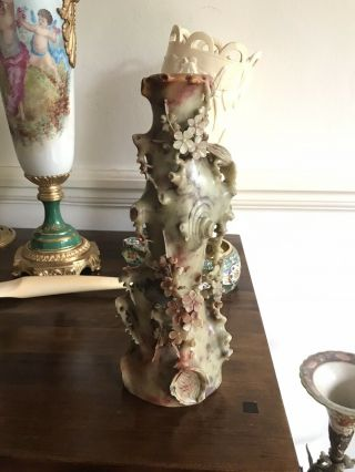 Antique Chinese Carved 3d Style Soapstone Vase Carved With Birds And Flowers