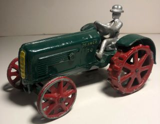 Cast Aluminum Oliver 70 Toy Tractor With Rider