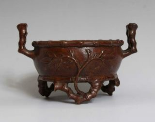 Perfect Antique Chinese Bronze Incense Burner Carved Bamboo Xuande Marked